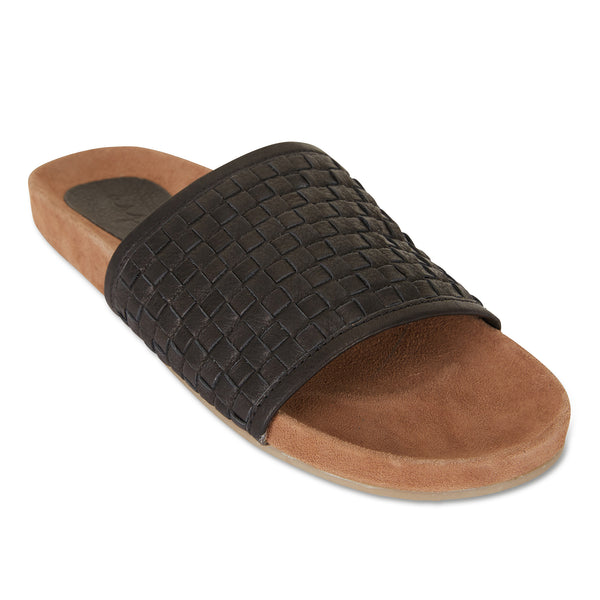 Sofia black milled woven slides with soft footbed for women 2