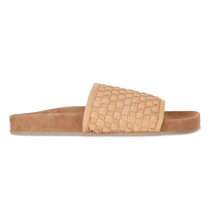 Sofia tan milled woven slides with soft footbed for women