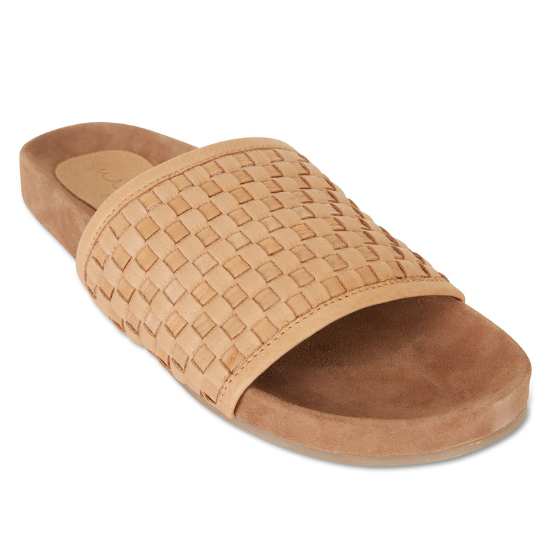 Sofia tan milled woven slides with soft footbed for women 2
