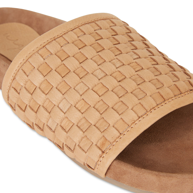 Sofia tan milled woven slides with soft footbed for women 3