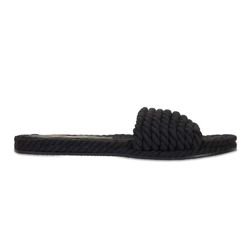 Sunny Black cotton rope classic slides for women