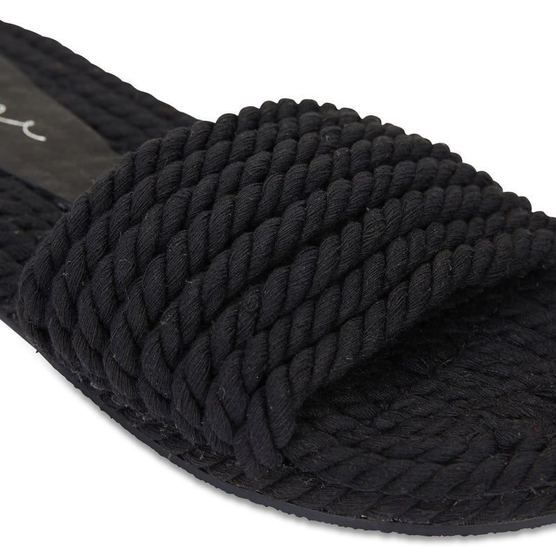 Sunny Black cotton rope classic slides for women 4