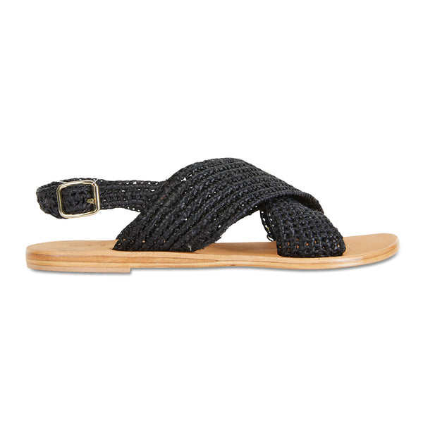 Suzi black rattan crossover slides with ankle closure for women
