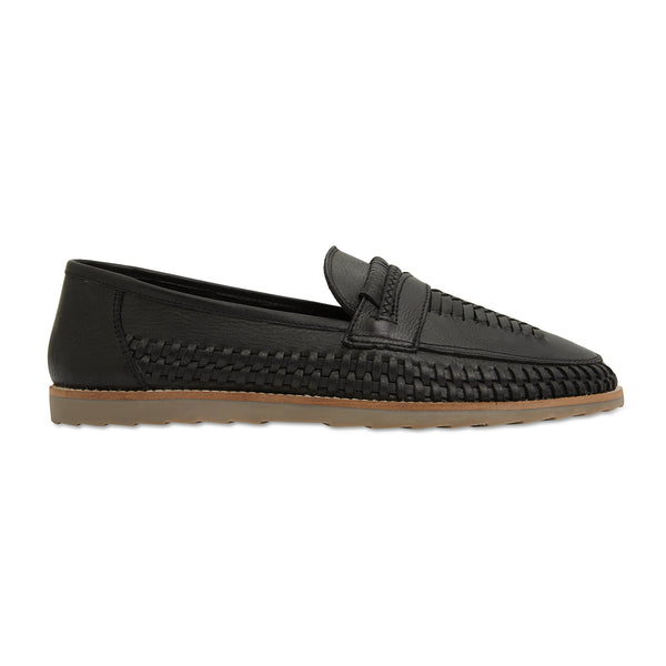 Toledo black milled woven leather slip on shoes for men