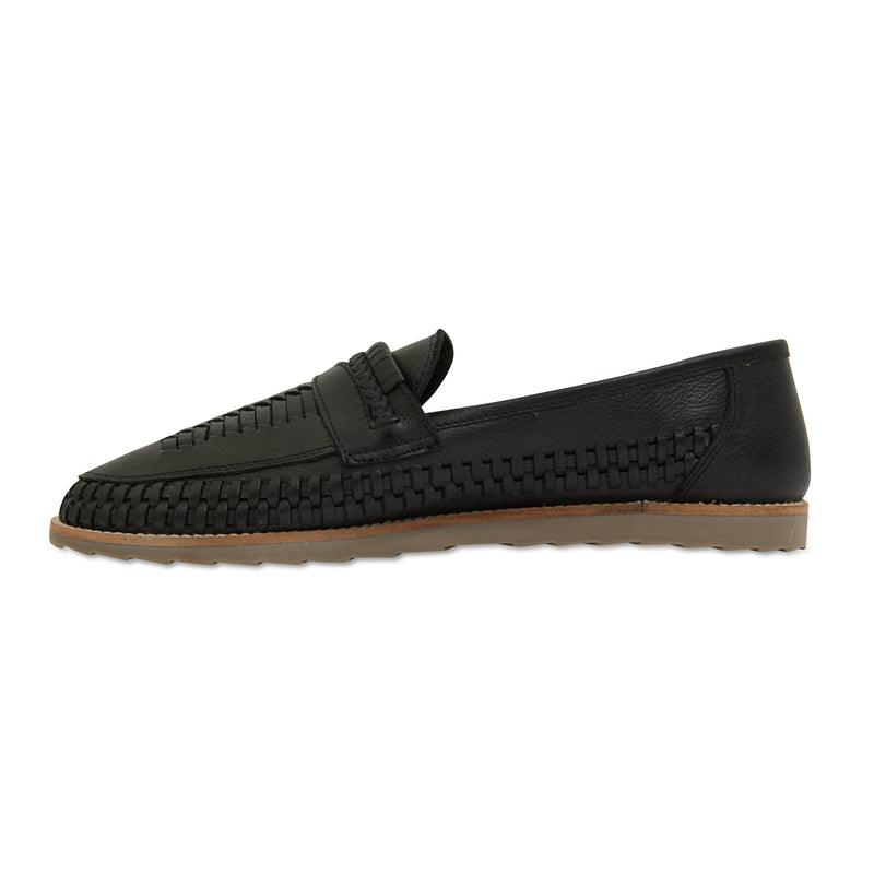 Toledo black milled woven leather slip on shoes for men 2
