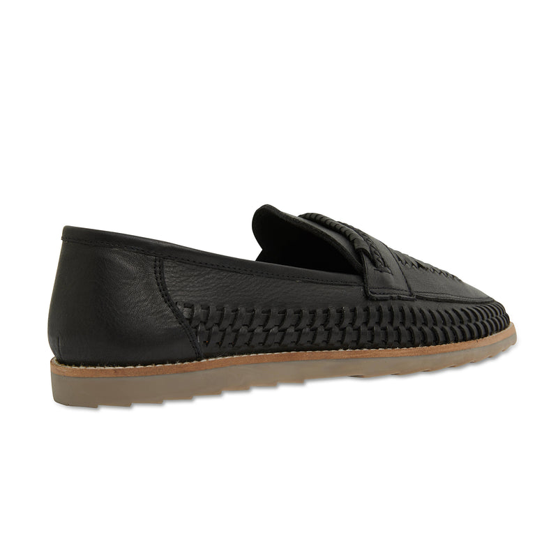 Toledo black milled woven leather slip on shoes for men 3