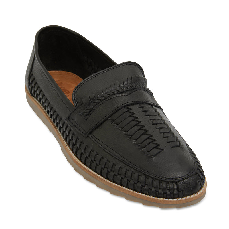Toledo black milled woven leather slip on shoes for men 1