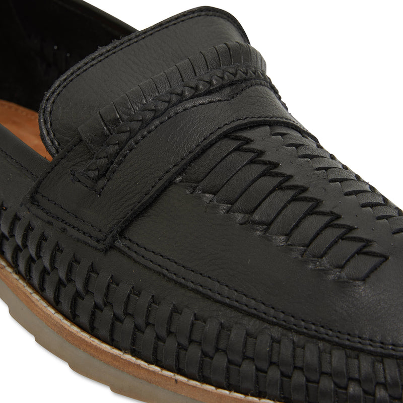 Toledo black milled woven leather slip on shoes for men 4