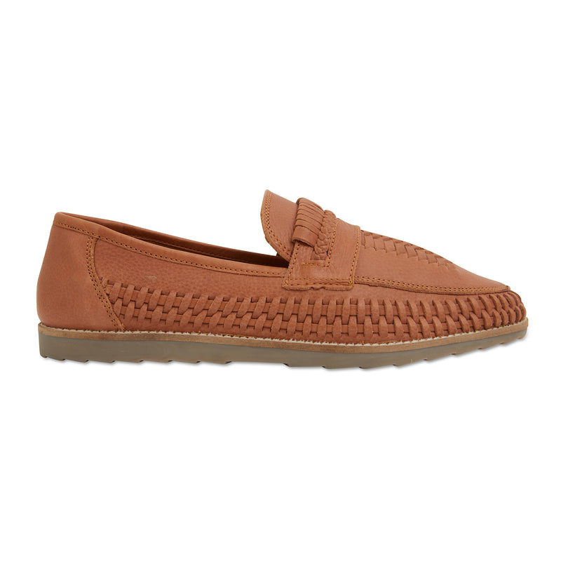 Toledo cognac milled woven leather slip on shoes for men