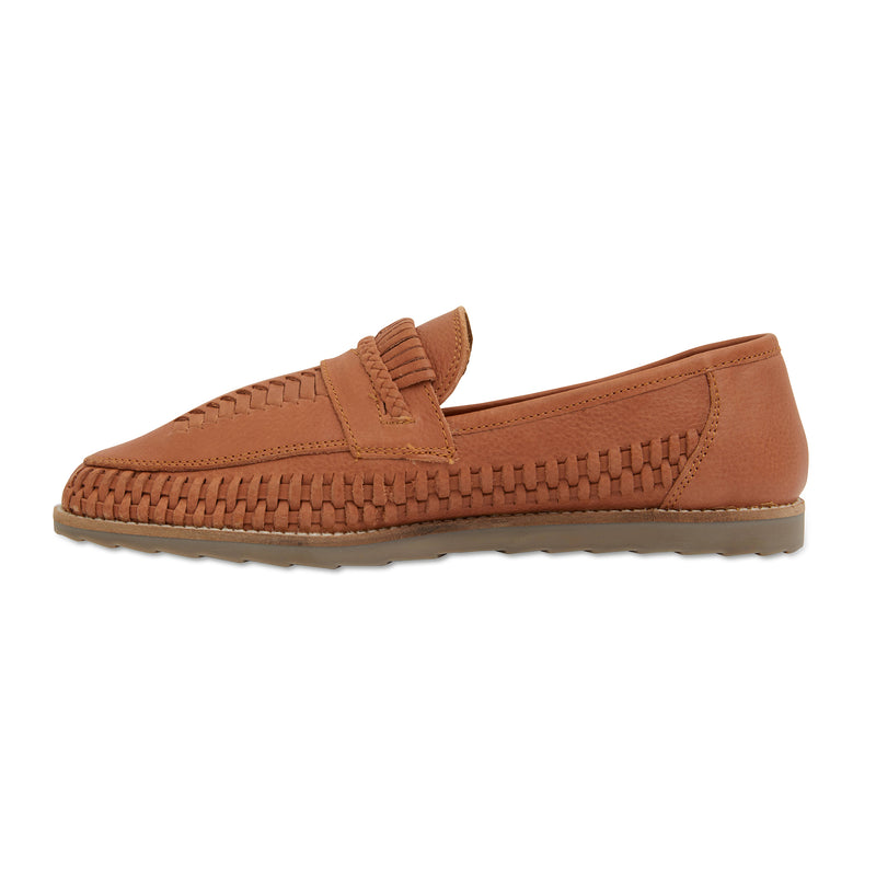Toledo cognac milled woven leather slip on shoes for men 2