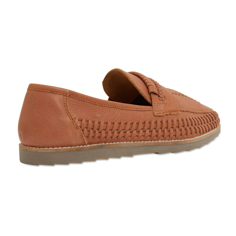 Toledo cognac milled woven leather slip on shoes for men 3