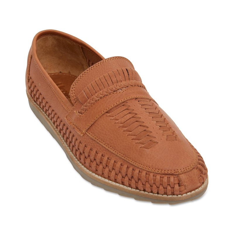 Toledo cognac milled woven leather slip on shoes for men 1
