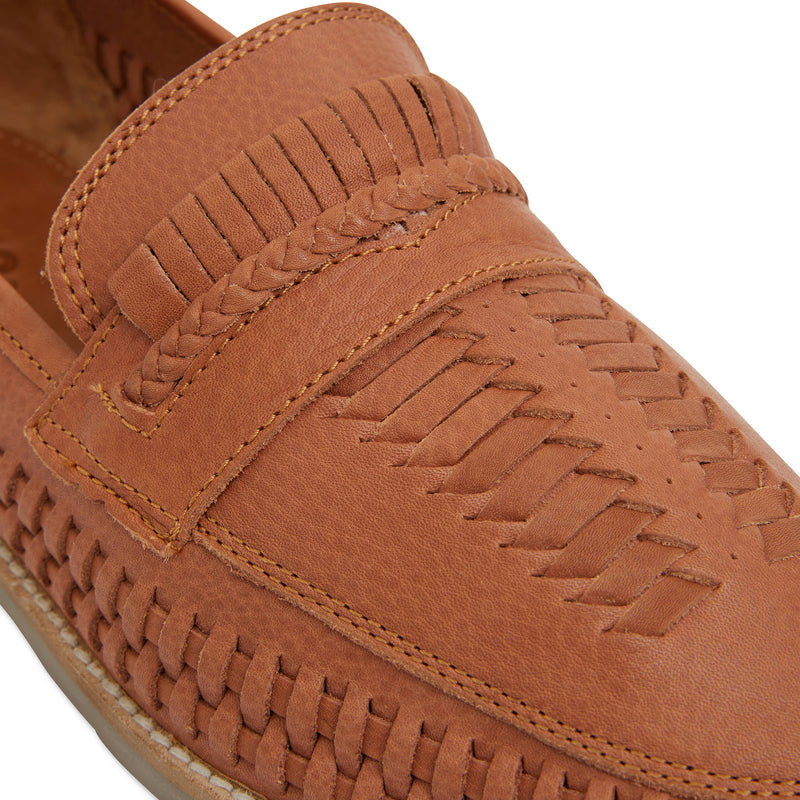 Toledo cognac milled woven leather slip on shoes for men 4