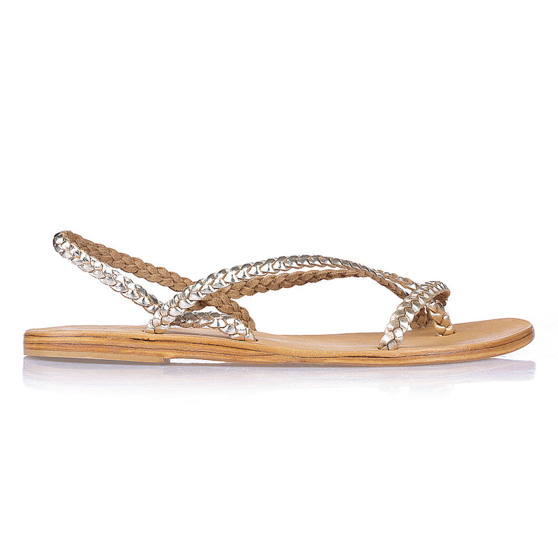 Tia Gold leather sandals with plaited straps for women