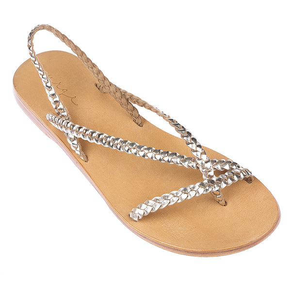 Tia Gold leather sandals with plaited straps for women 2