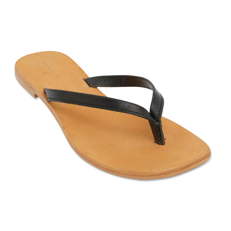 Tinah black leather thong sandals with thin straps for women 1
