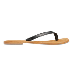 Tinah black leather thong sandals with thin straps for women