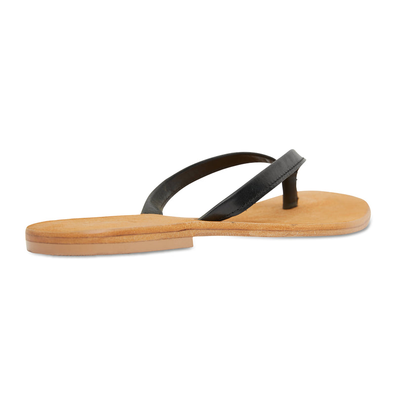 Tinah black leather thong sandals with thin straps for women 2