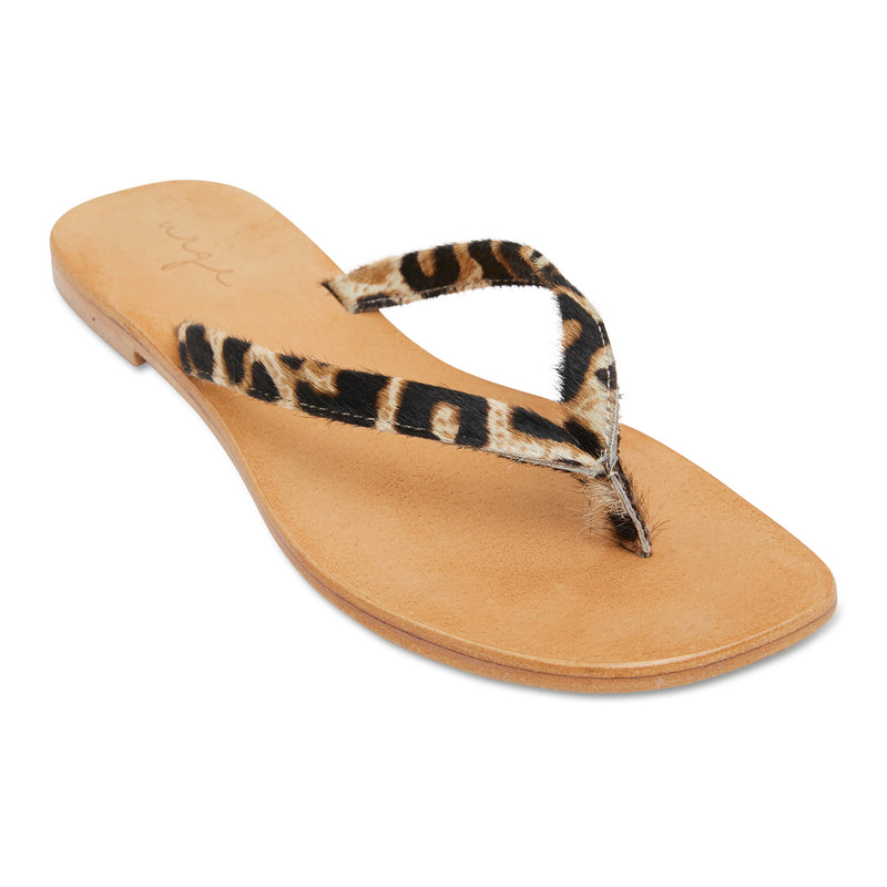 Tinah leopard pony leather thong sandals with thin straps for women 1