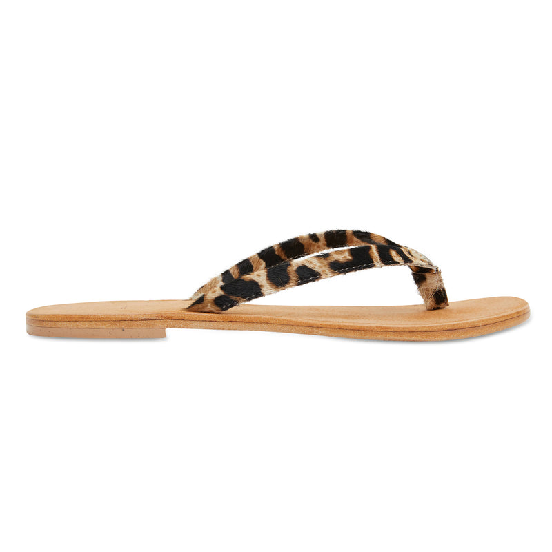 Tinah leopard pony leather thong sandals with thin straps for women