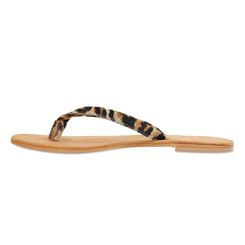 Tinah leopard pony leather thong sandals with thin straps for women3