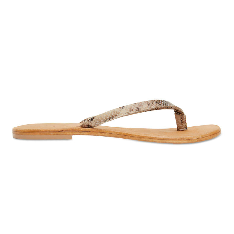 Tinah natural snake leather thong sandals with thin straps for women