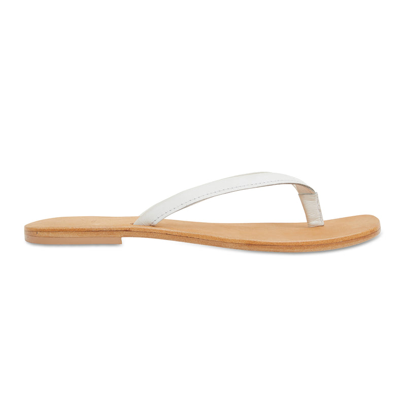 Tinah white leather thong sandals with thin straps for women