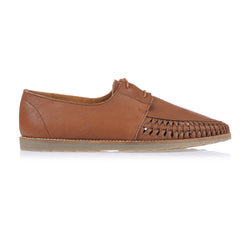 Paros III tan milled leather lace up shoes for men