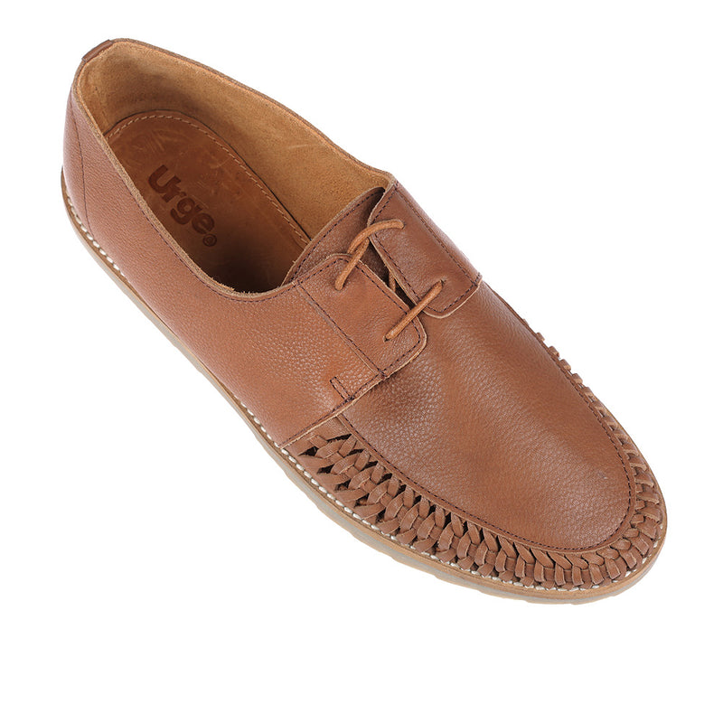 Paros III tan milled leather lace up shoes for men 2