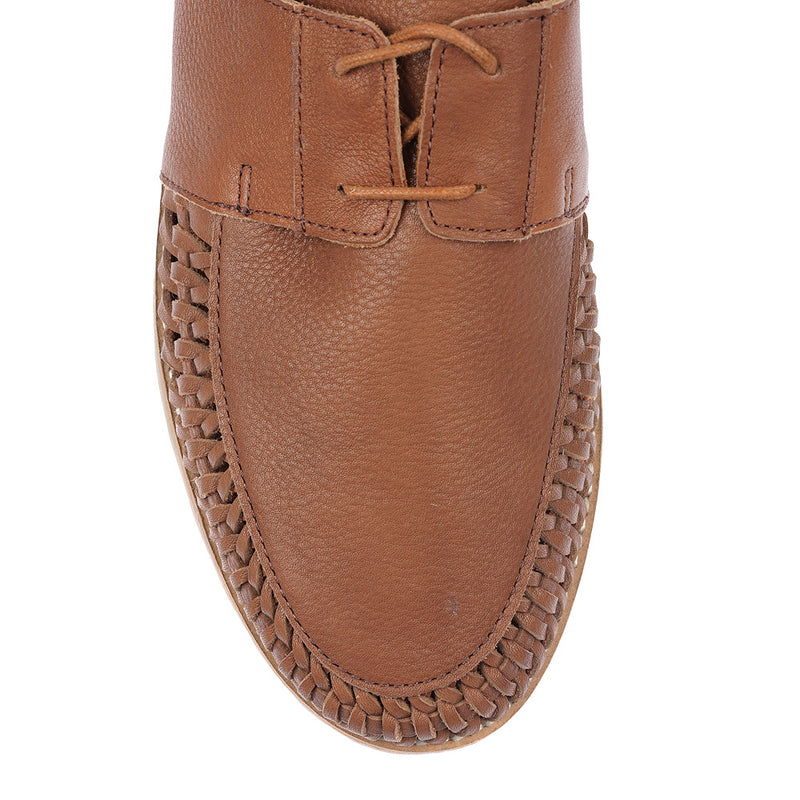 Paros III tan milled leather lace up shoes for men 3