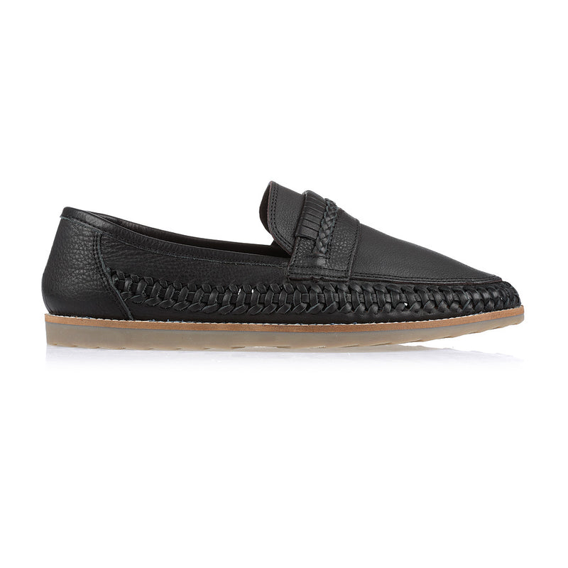 Todos black milled woven leather slip on shoes for men