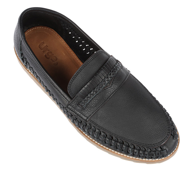 Todos black milled woven leather slip on shoes for men 1