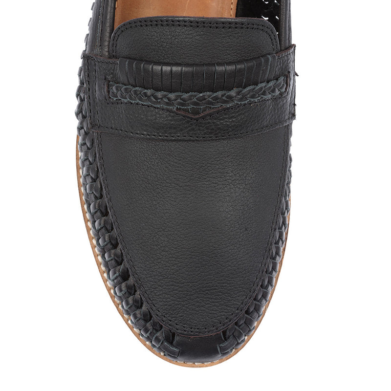 Todos black milled woven leather slip on shoes for men 2