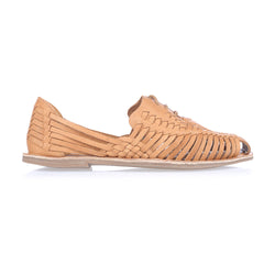 Mini tan vintage leather woven lace up shoes for women