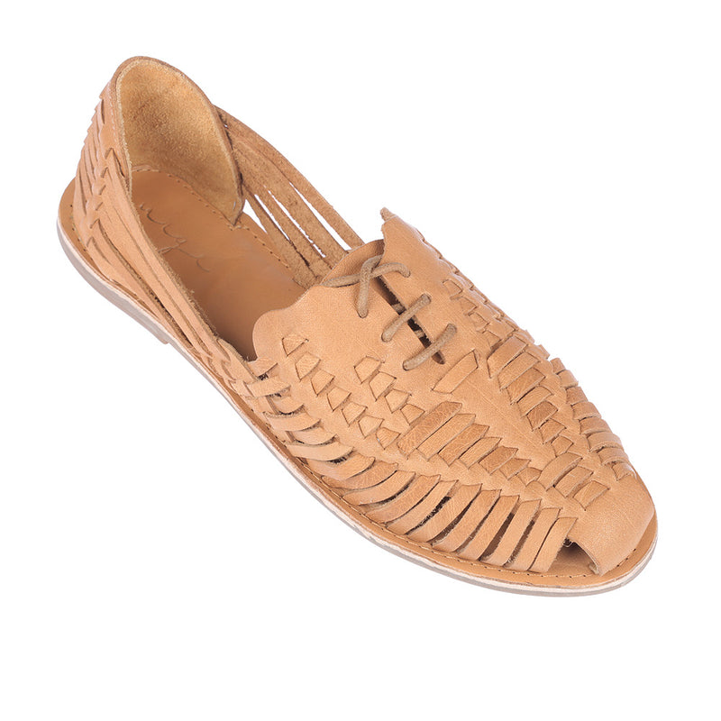 Mini tan vintage leather woven lace up shoes for women 2