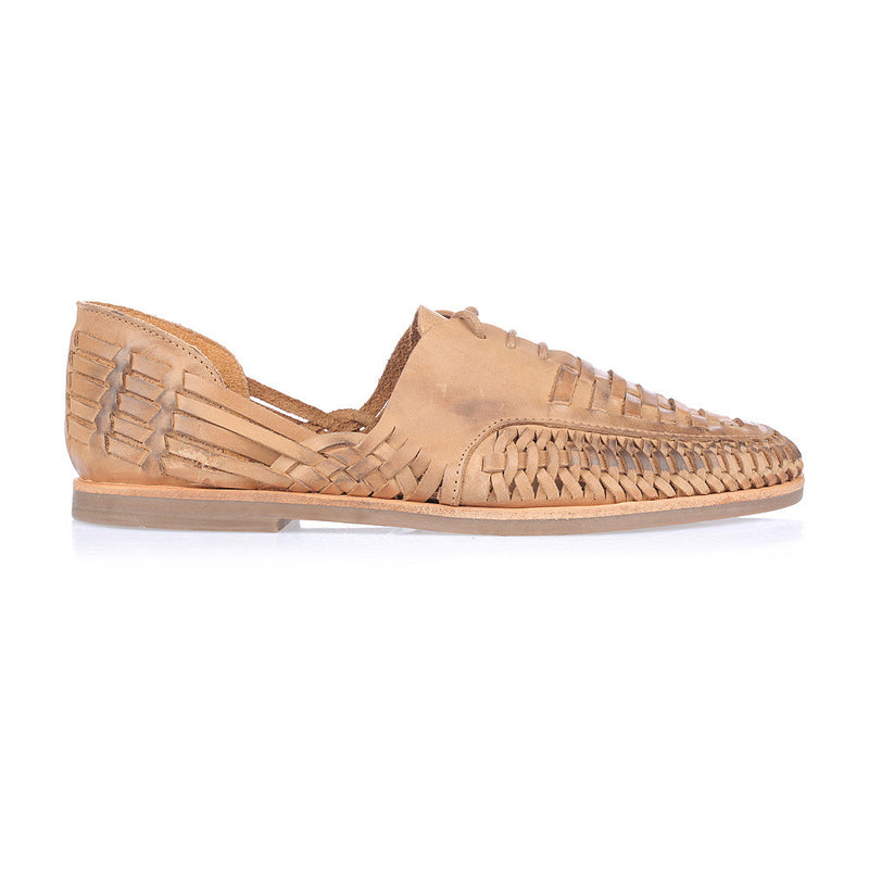 Morocco tan oily woven leather lace up men shoes