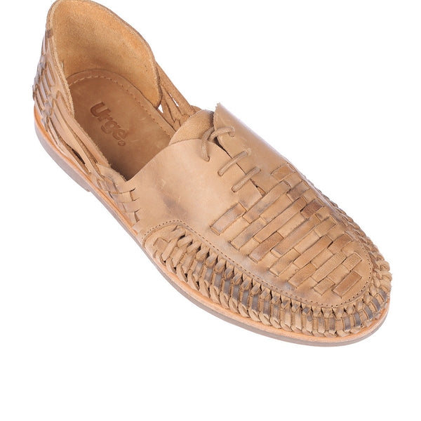 Morocco tan oily woven leather lace up men shoes 1