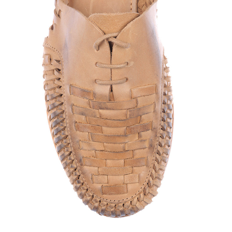 Morocco tan oily woven leather lace up men shoes 2