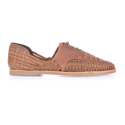 Morocco mocha oily woven leather lace up men shoes