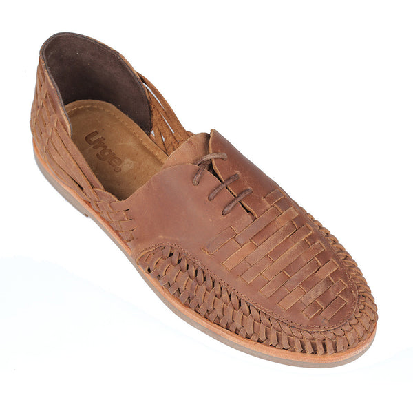 Morocco mocha oily woven leather lace up men shoes 1