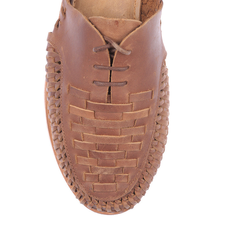 Morocco mocha oily woven leather lace up men shoes 2