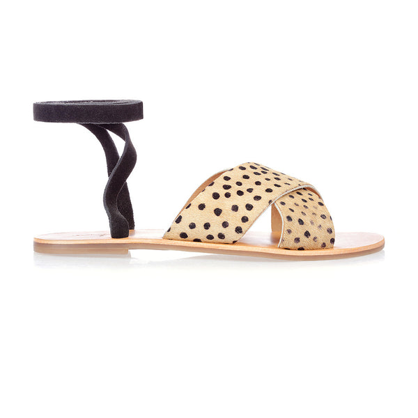 ROXY - BLACK CHEETAH LACE-UP SANDAL