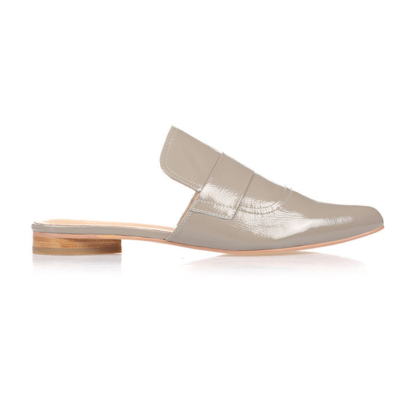 FIONA - TAUPE CRINKLED LEATHER MULE