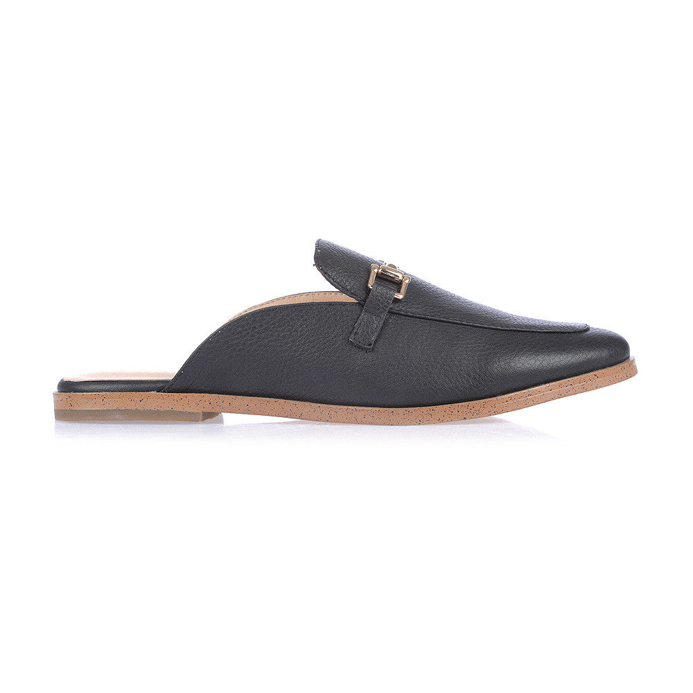 FRESH - BLACK LEATHER SLIP ON