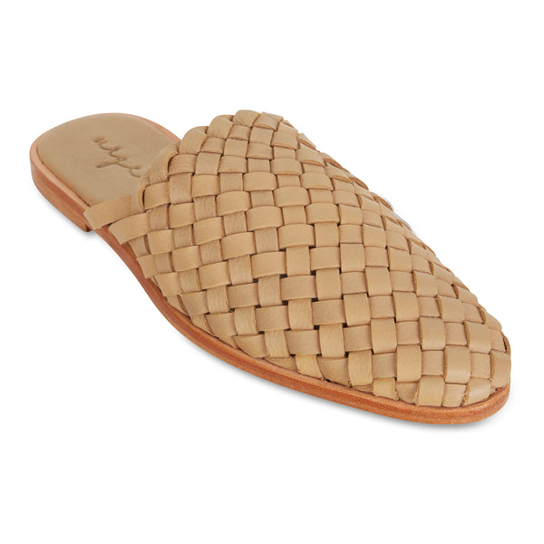 Luella  tan wash woven leather mules for women 1