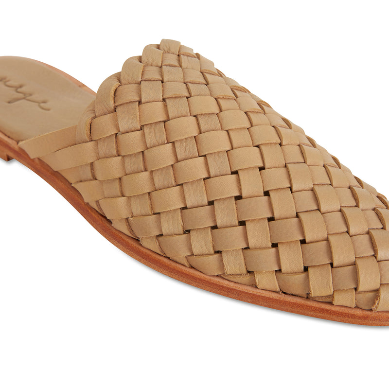 Luella  tan wash woven leather mules for women 3