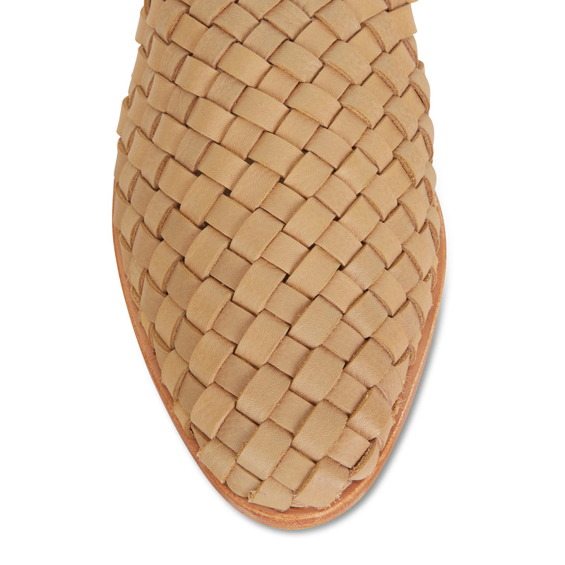 Luella  tan wash woven leather mules for women 2