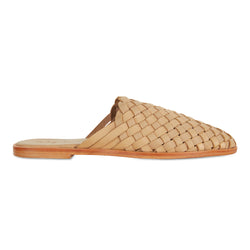 Luella  tan wash woven leather mules for women