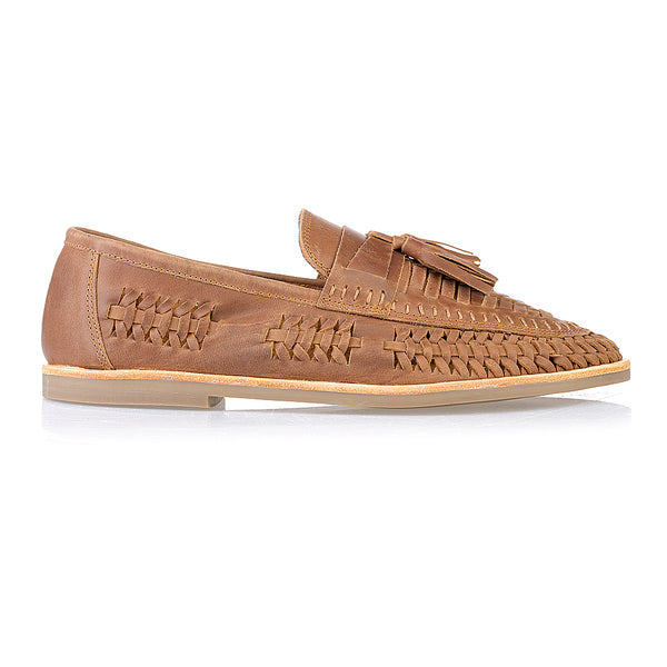 Wilkes mocha oily woven leather mens slip on shoes