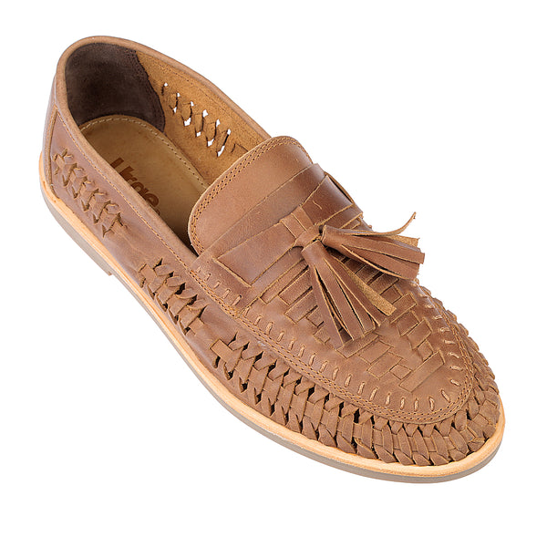 Wilkes mocha oily woven leather mens slip on shoes 2